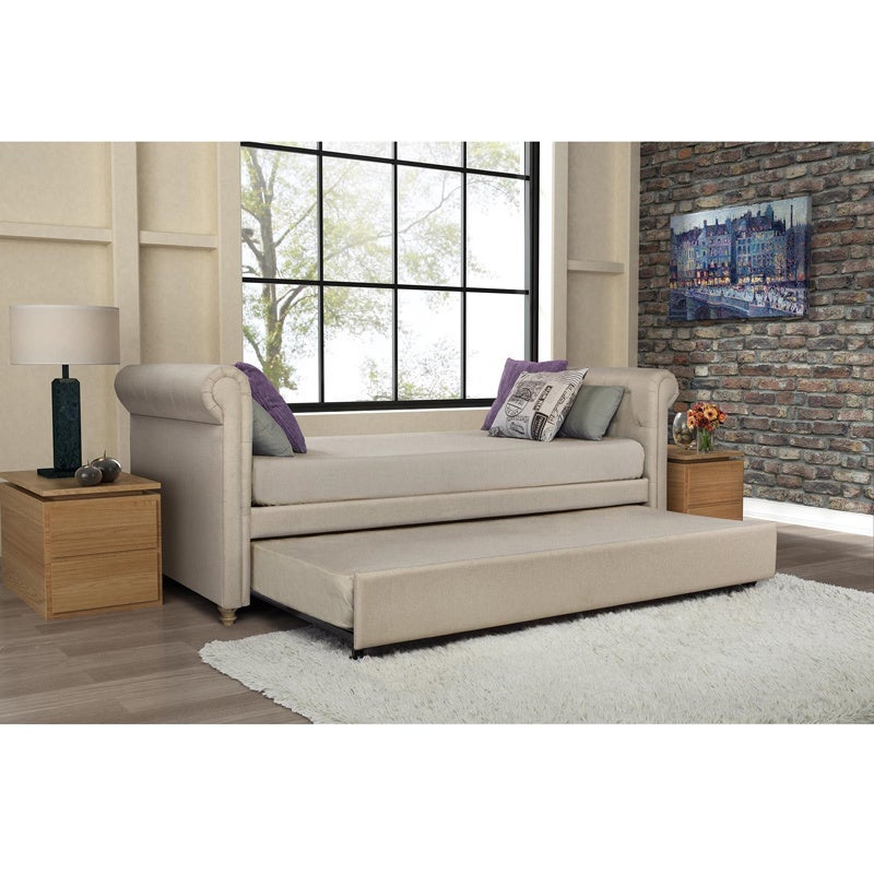 Overstock Daybeds With Trundle : Dhp sophia upholstered trundle daybed overstock