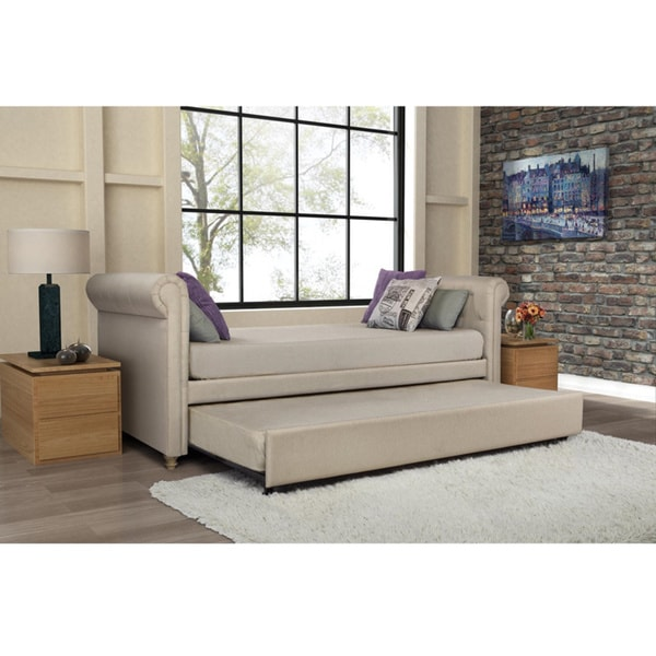 Dhp Sophia Upholstered Trundle Daybed  Overstock Com