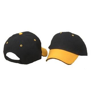 Adult Black Baseball Cap with Gold Brim