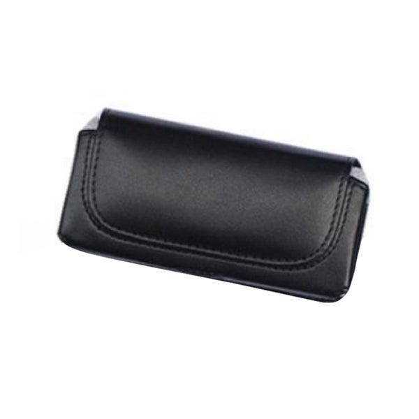 INSTEN Black Horizontal Leather Fabric Phone Case Cover Pouch With Belt Clip