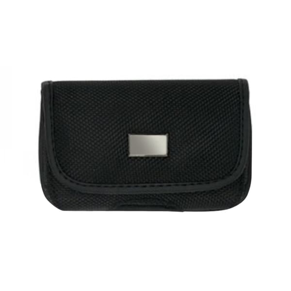 INSTEN Black Horizontal Canvas Fabric Phone Case Cover Pouch With Belt Clip For Motorola RAZR V3