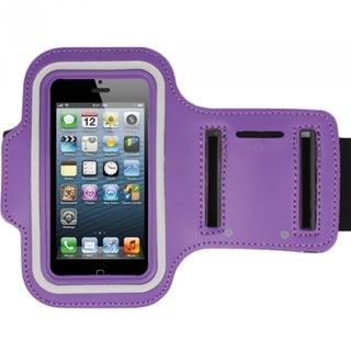 INSTEN Purple Premium Sports Exercise Running Armband Style Phone Case Cover For Apple iPhone 5/ 5s