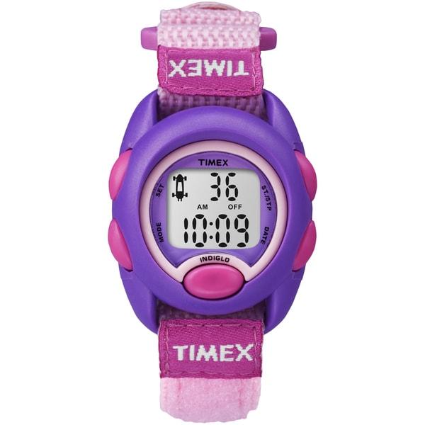 Timex Kids Purple Digital Pink Fast Wrap Velcro Strap Watch
