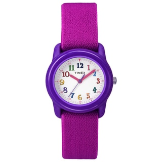 Timex TW7B994009J Kids' Kids Purple Analog Pink Elastic Fabric Strap Watch