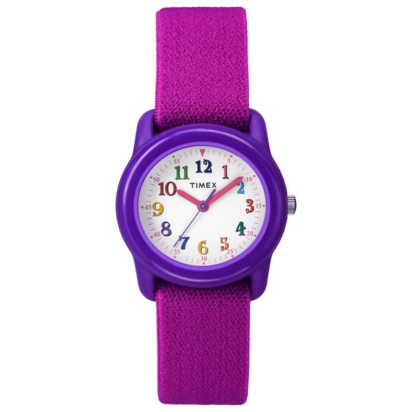Timex Kids Purple Analog Pink Elastic Fabric Strap Watch