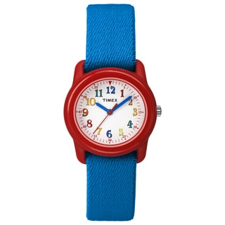 Timex Kids Red Analog Blue Elastic Fabric Strap Watch