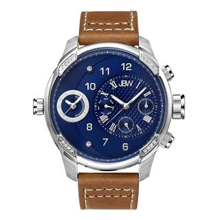 JBW Men's 'G3' Diamond Brown Leather Watch