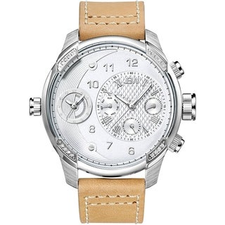 JBW Men's 'G3' Diamond Accent Brown Leather Watch