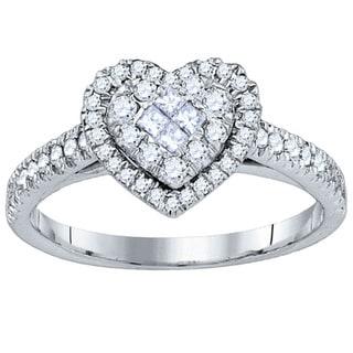 10k White Gold 1/2ct TDW Diamond Heart Ring (G-H, I1-I2)