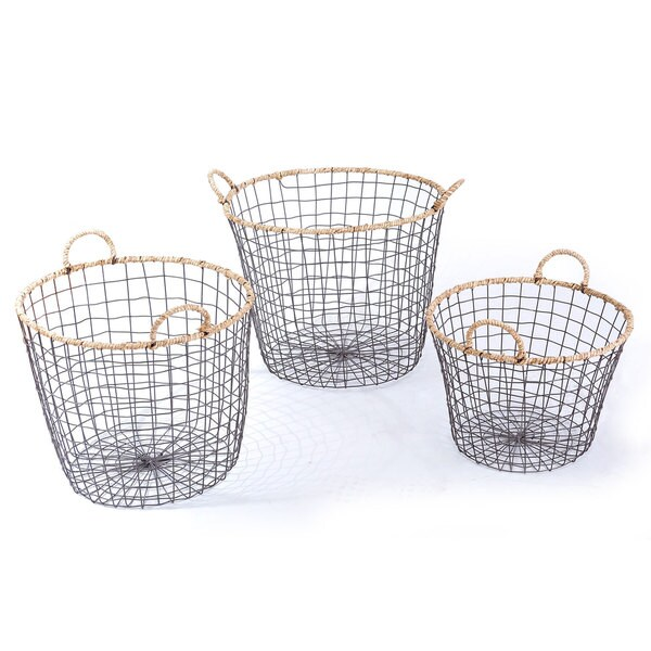 Adeco Multi-purpose Round Iron Wired Baskets (Set of 3)
