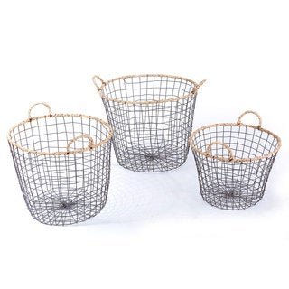 Adeco Multi-purpose Round Iron Wired Baskets (Set of 3)