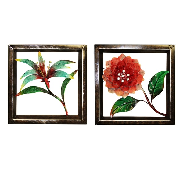Tropical Flowers Metal Framed Wall Decor Set Of 2