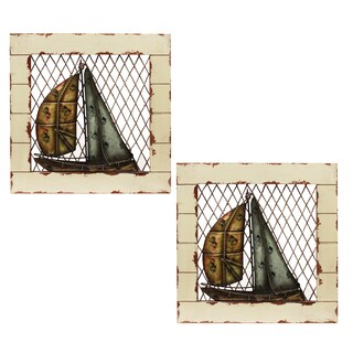 'Coast Along' Sailing Boat Nautical Wall Decor (Set of 2)