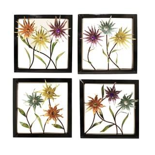 Handcrafted 3D Metal Wild Flowers Framed Decor (Set of 4)