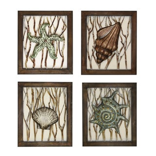 Beach Shells Nautical Wall Art Decor (Set of 4)