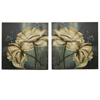Floral Radiance Handcrafted Metal Wall Art Decor (Set of 2)