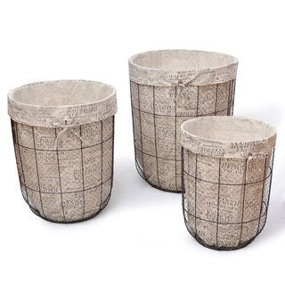 Adeco Multi-purpose Newspaper Print Lining Tall Circular Laundry Baskets (Set of 3)