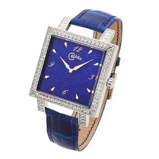 Céphée Men's 18k White Gold 'Carre' Lapis Lazuli Diamond Dial Blue Leather Watch