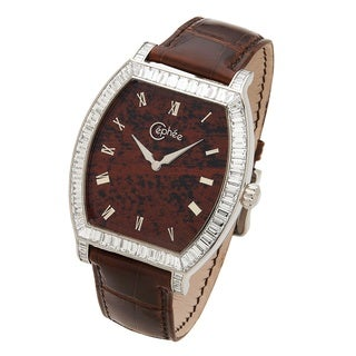 Céphée Men's 18k White Gold 'Tonneau' Mahogany Diamond Dial Brown Leather Watch