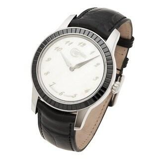Céphée 18k White Gold 'Ronde' Nacre Black Diamond Dial Black Leather Watch