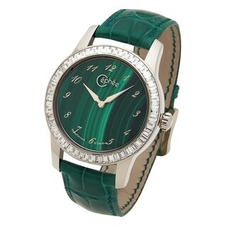 Céphée 18k White Gold 'Ronde' Malachite Diamond Dial Green Leather Watch