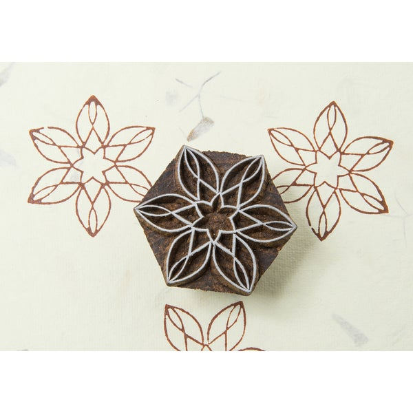 Blockwallah Block Stamp-Star Flower
