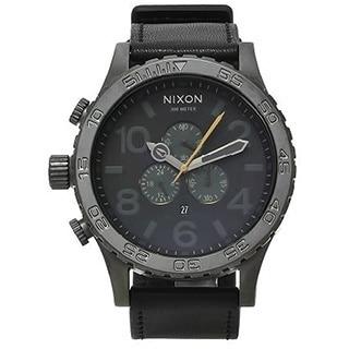 Nixon Men's A124680-00 Black Leather 51-30 Chrono Dark Gray Dial Watch
