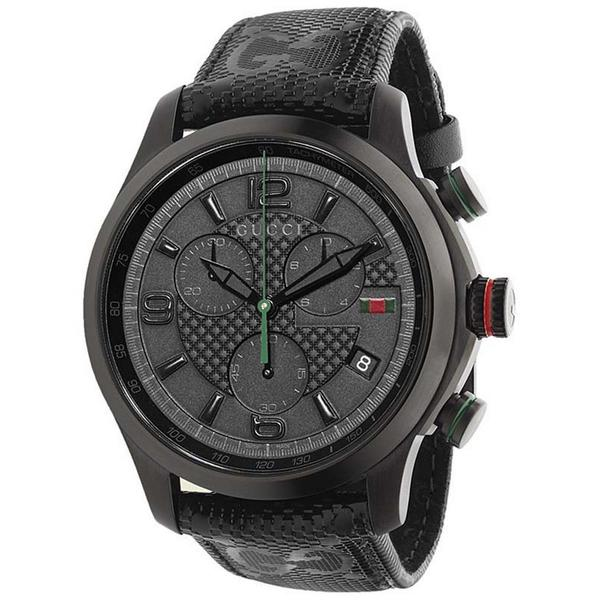 Gucci Men's YA126244 Quartz G-Timeless Chronograph Black Leather Watch