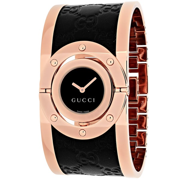 Gucci Women's YA112438 Quartz Twirl Rose Goldtone Guccissima Leather Watch