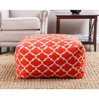 ABBYSON LIVING Milana Moroccan Red Lattice 27-inch Pouf