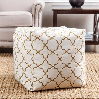 Abbyson Living Milana Moroccan Gold Lattice 21-inch Square Pouf
