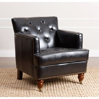ABBYSON LIVING Tafton Black Leather Club Chair
