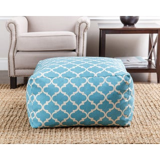 ABBYSON LIVING Milana Moroccan Light Blue Lattice 27-inch Pouf