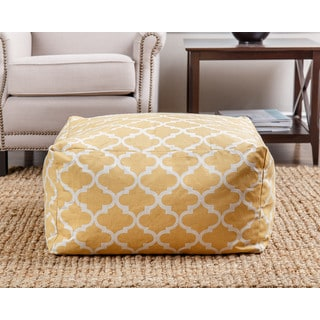 ABBYSON LIVING Milana Moroccan Yellow Lattice 27-inch Pouf