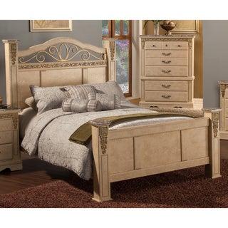 Sandberg Furniture Belladonna White Washed/ Faux Marble Palace Estate Bed