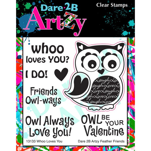 "Dare 2B Artzy Clear Stamps 4""X4"" Sheet-Whoo Loves You"