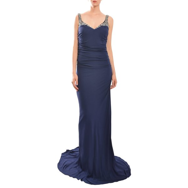Badgley Mischka Women's Navy Blue Beaded and Ruched Evening Gown - Size 16 (As Is Item)