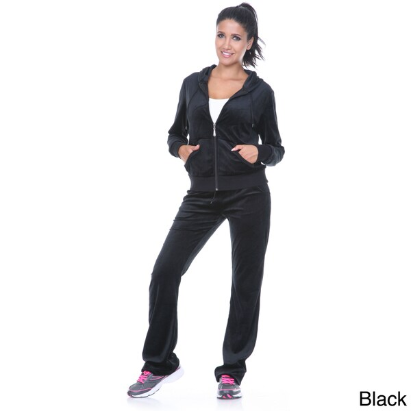 White Mark Women's Velour Black Two-piece Lounge Suit - Size Small (As Is Item)