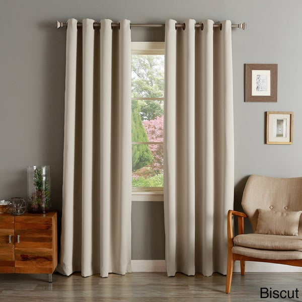 Lights Out Thermal Insulated Biscuit Blackout Grommet Top 95-inch Curtain Panel Pair (As Is Item)