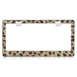 INSTEN Leopard Pattern Shining Brown/ Black Crystals Chrome Metal 6x12-inch Autombile License Plates Frame