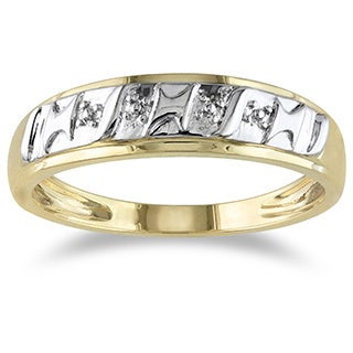 Miadora 10k Yellow Gold Diamond Illusion Men's Ring