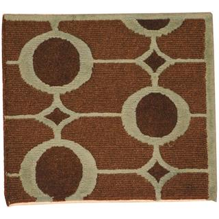 Herat Oriental Indo Hand-knotted Tibetan Brown/ Light Green Wool Rug (2' x 2')