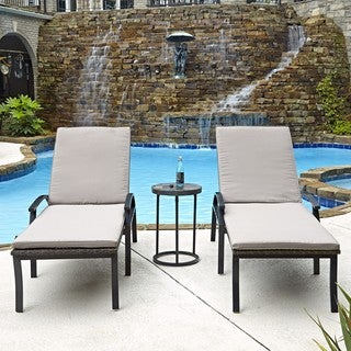 Home Styles Laguna Two Chaise Lounge Chairs and Accent Table