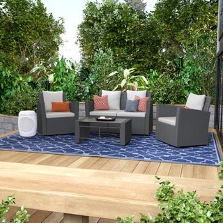 Portfolio Aldrich Grey 4-piece Indoor/Outdoor Resin Wicker Set