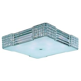 Beveled Crystal Shade 8-light Chrome Manhattan Flush Mount Light