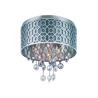 Slate Fabric Shade 5-light Nickel Symmetry Flush Mount Light