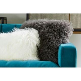 Aurelle Home Lamb Fur Cream Rectangle Throw Pillow