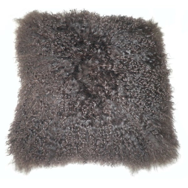 Aurelle Home Lamb Fur Brown Throw Pillow