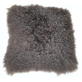 Lamb Fur Brown Throw Pillow