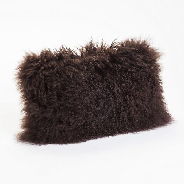 Aurelle Home Lamb Fur Dark Brown Rectangle Throw Pillow